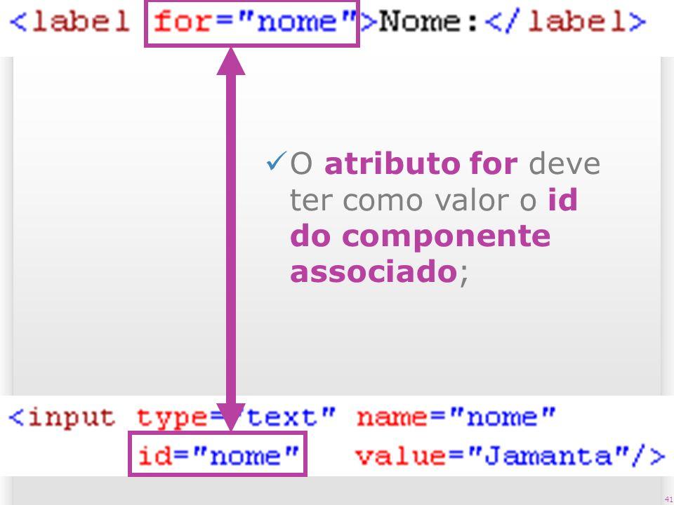 41 O atributo for deve ter como valor o id do componente associado;