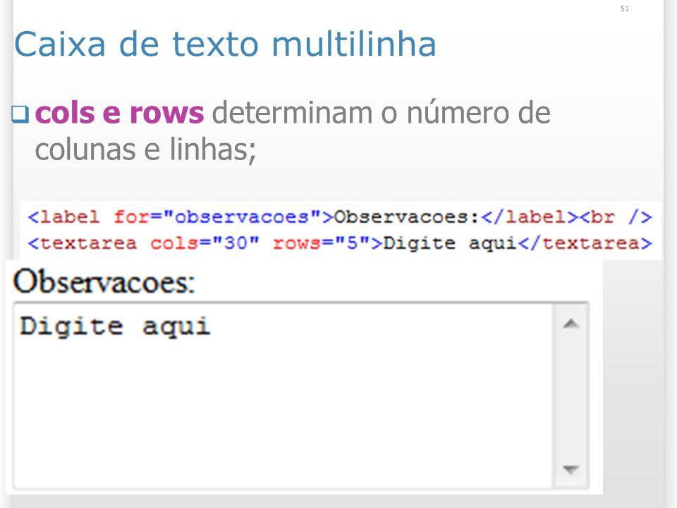 Caixa de texto multilinha cols e rows determinam o número de colunas e linhas; 51