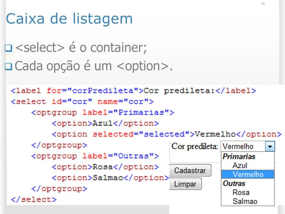 Caixa de listagem é o container; Cada opção é um. 52