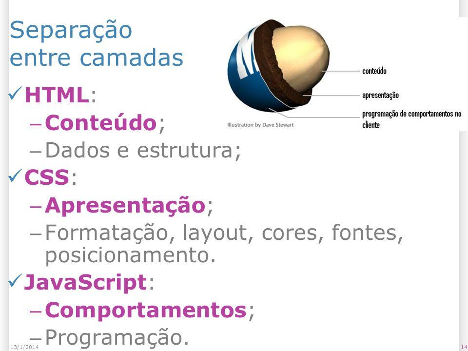 1413/1/2014 Separação entre camadas HTML: – Conteúdo; – Dados e estrutura; CSS: – Apresentação; – Formatação, layout, cores, fontes, posicionamento.