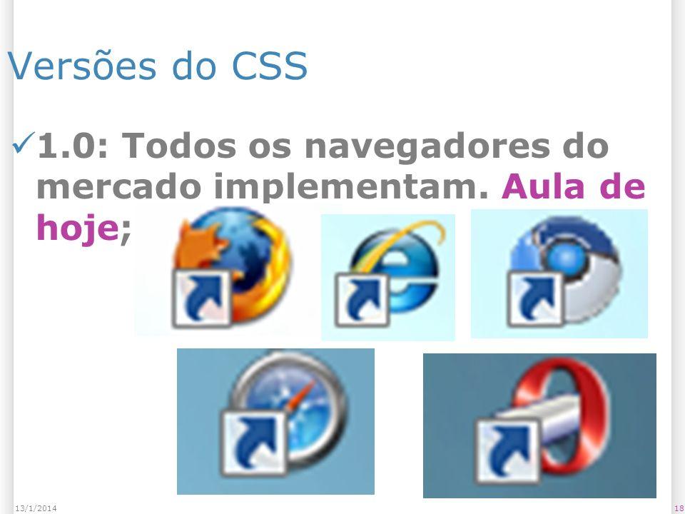 Versões do CSS 1.0: Todos os navegadores do mercado implementam. Aula de hoje; 1813/1/2014