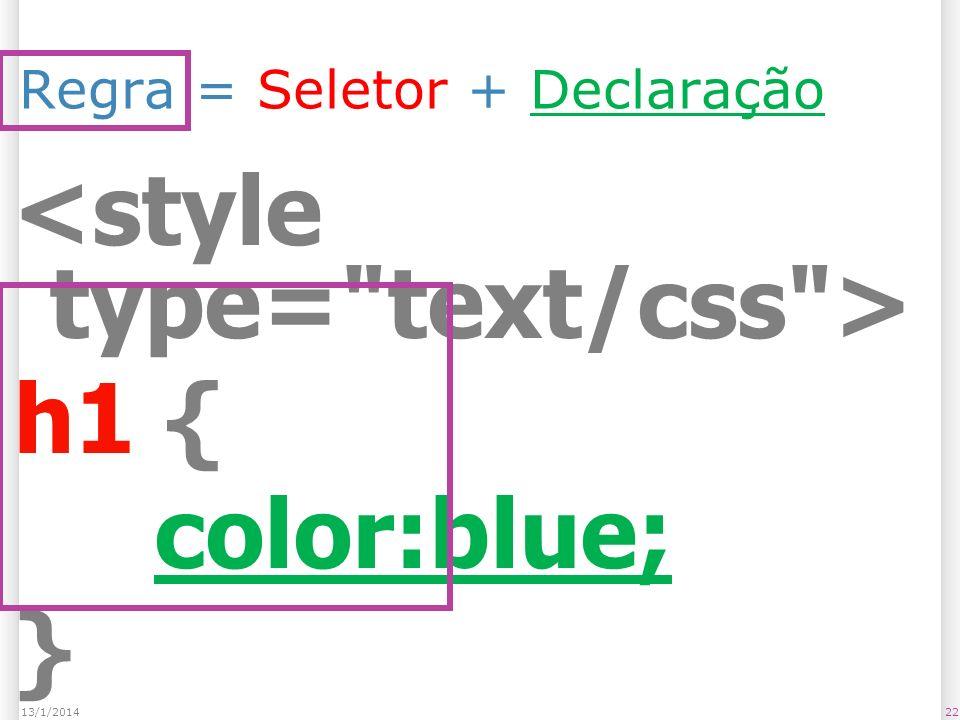 Regra = Seletor + Declaração h1 { color:blue; } 2213/1/2014