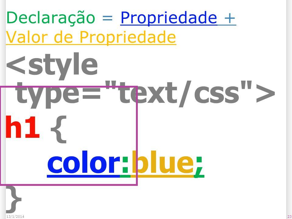 Declaração = Propriedade + Valor de Propriedade h1 { color:blue; } 2313/1/2014