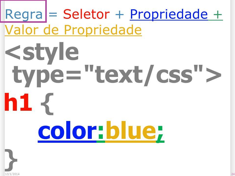 Regra = Seletor + Propriedade + Valor de Propriedade h1 { color:blue; } 2413/1/2014