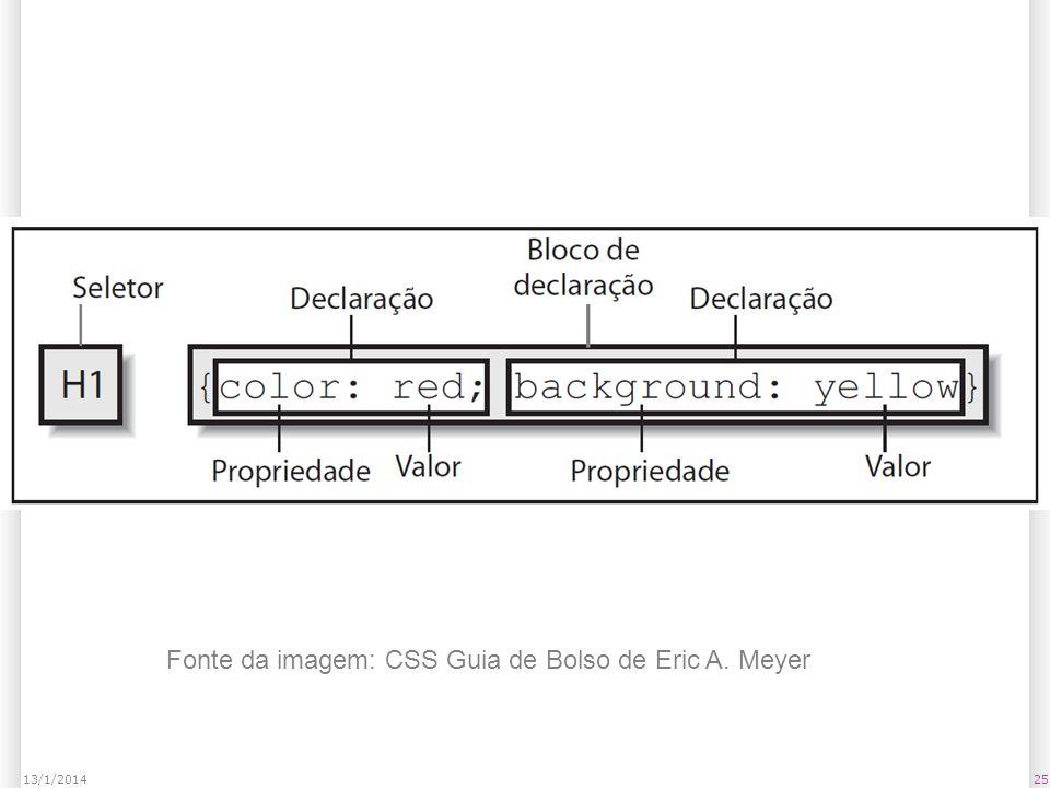 2513/1/2014 Fonte da imagem: CSS Guia de Bolso de Eric A. Meyer
