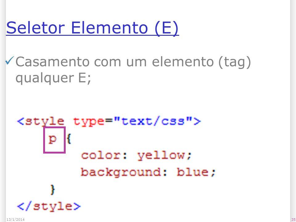 Seletor Elemento (E) Casamento com um elemento (tag) qualquer E; 3513/1/2014
