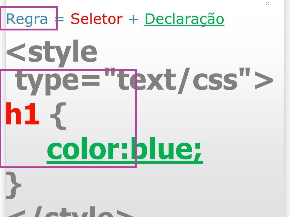 Regra = Seletor + Declaração h1 { color:blue; } 20
