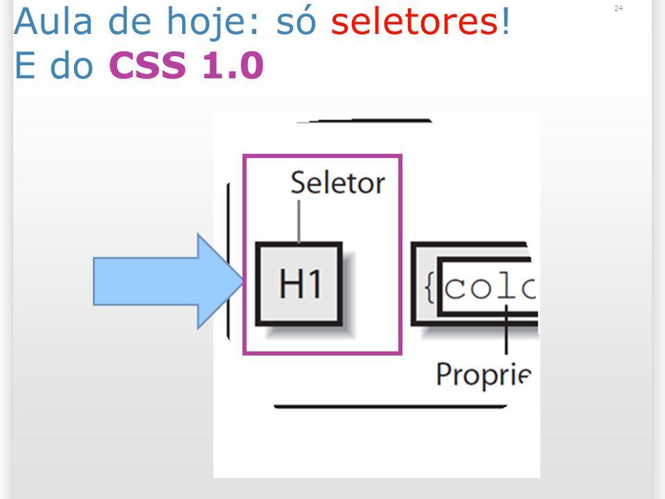 Aula de hoje: só seletores! E do CSS 1.0 24