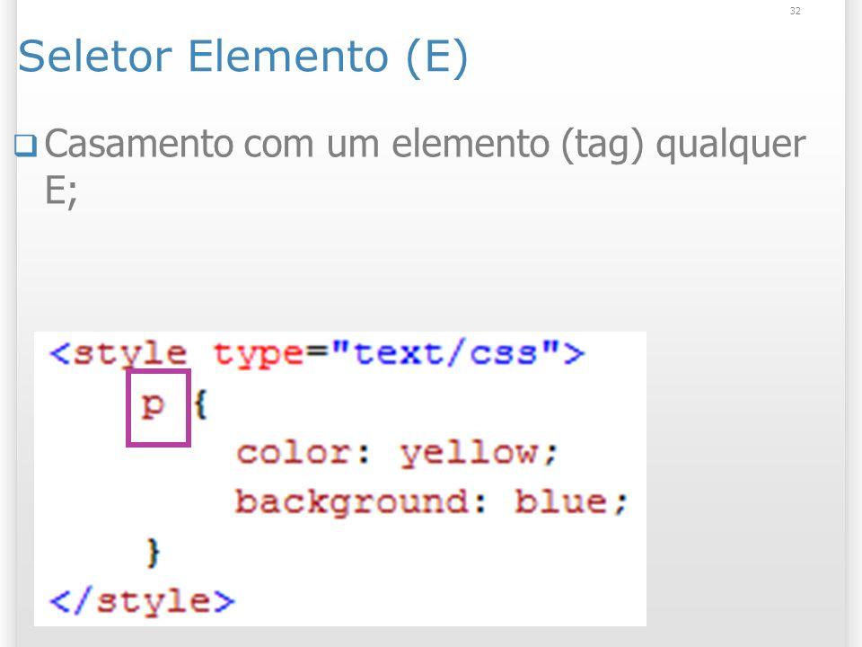 Seletor Elemento (E) Casamento com um elemento (tag) qualquer E; 32