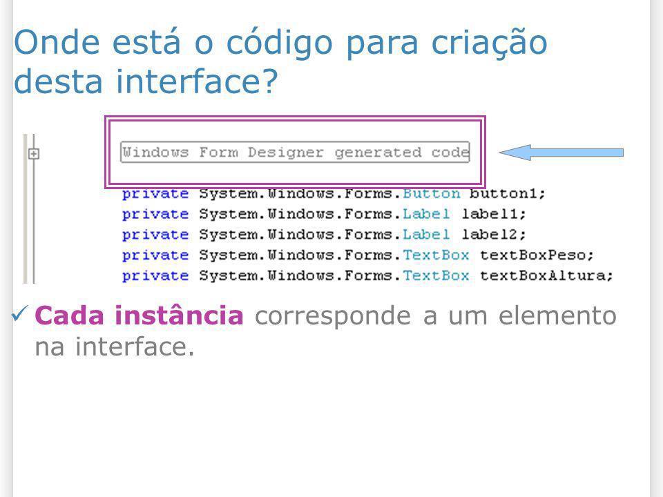 Onde está o código para criação desta interface? Cada instância corresponde a um elemento na interface.