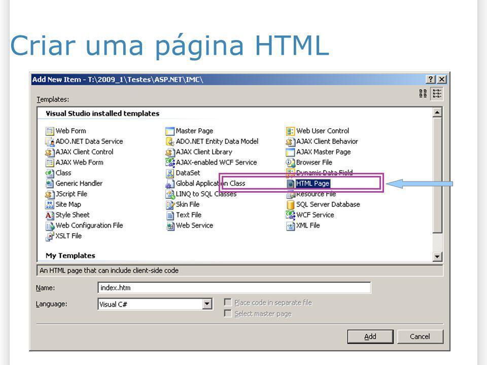 Criar uma página HTML