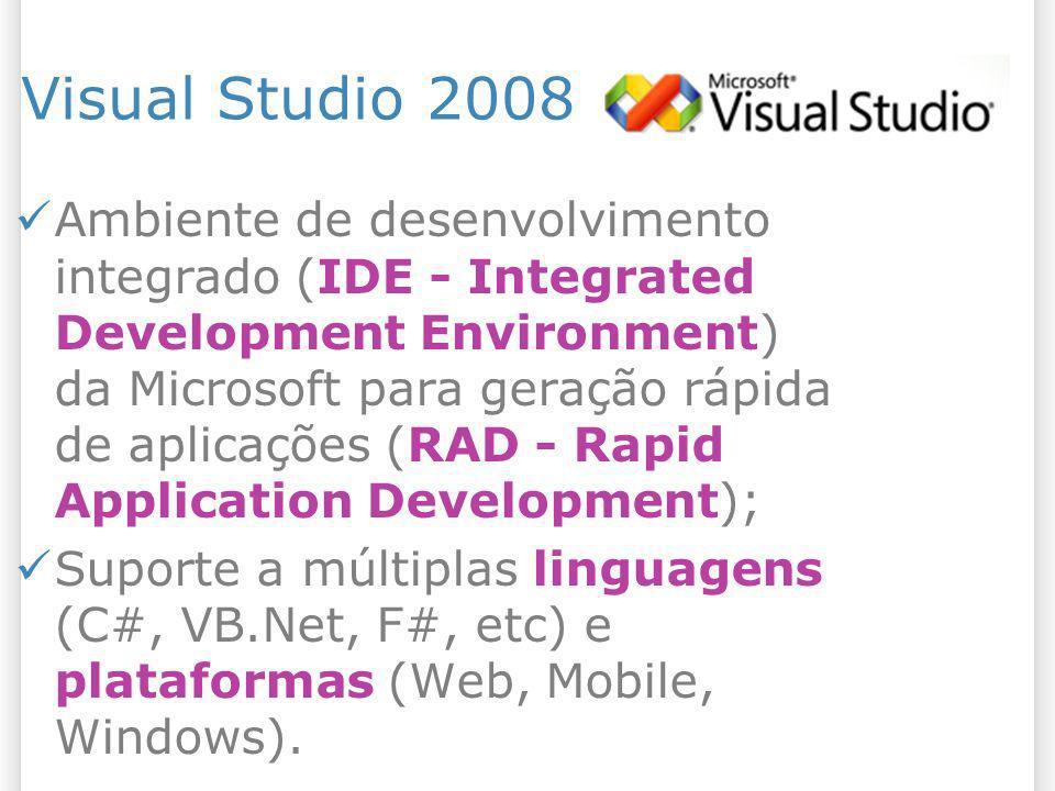 Visual Studio 2008 Ambiente de desenvolvimento integrado (IDE - Integrated Development Environment) da Microsoft para geração rápida de aplicações (RA