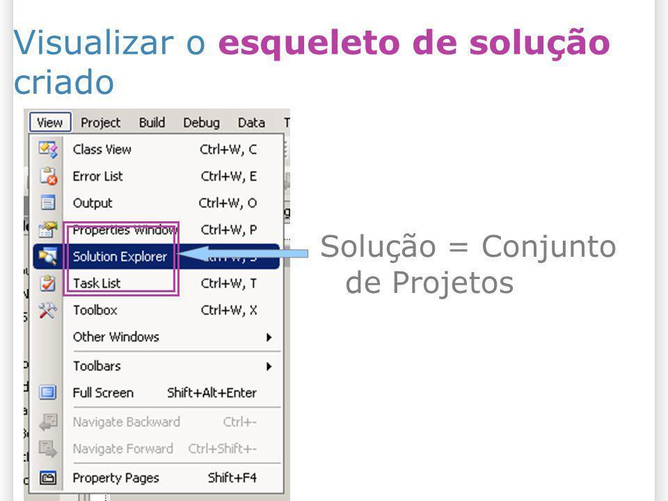 Visualizar o esqueleto de solução criado Solução = Conjunto de Projetos