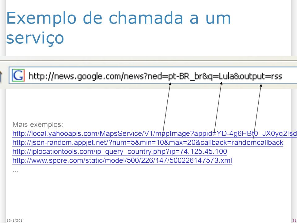 Exemplo de chamada a um serviço 3113/1/2014 Mais exemplos: http://local.yahooapis.com/MapsService/V1/mapImage appid=YD-4g6HBf0_JX0yq2IsdnV1Ne9JTpKxQ3Miew--&city=Curitiba http://json-random.appjet.net/ num=5&min=10&max=20&callback=randomcallback http://iplocationtools.com/ip_query_country.php ip=74.125.45.100 http://www.spore.com/static/model/500/226/147/500226147573.xml...