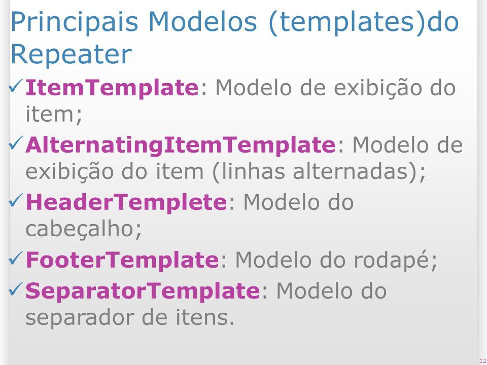 Principais Modelos (templates)do Repeater ItemTemplate: Modelo de exibição do item; AlternatingItemTemplate: Modelo de exibição do item (linhas alternadas); HeaderTemplete: Modelo do cabeçalho; FooterTemplate: Modelo do rodapé; SeparatorTemplate: Modelo do separador de itens.