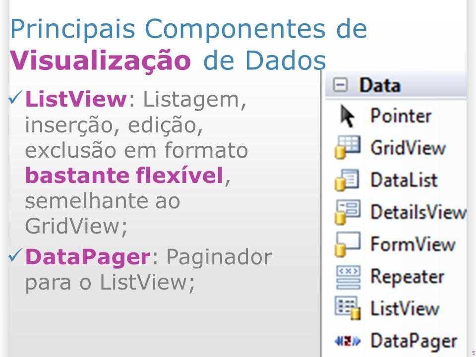 Principais Componentes de Visualização de Dados ListView: Listagem, inserção, edição, exclusão em formato bastante flexível, semelhante ao GridView; D
