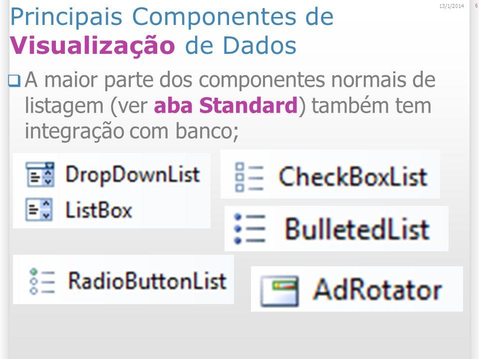 Principais Componentes de Visualização de Dados A maior parte dos componentes normais de listagem (ver aba Standard) também tem integração com banco; 6 13/1/2014