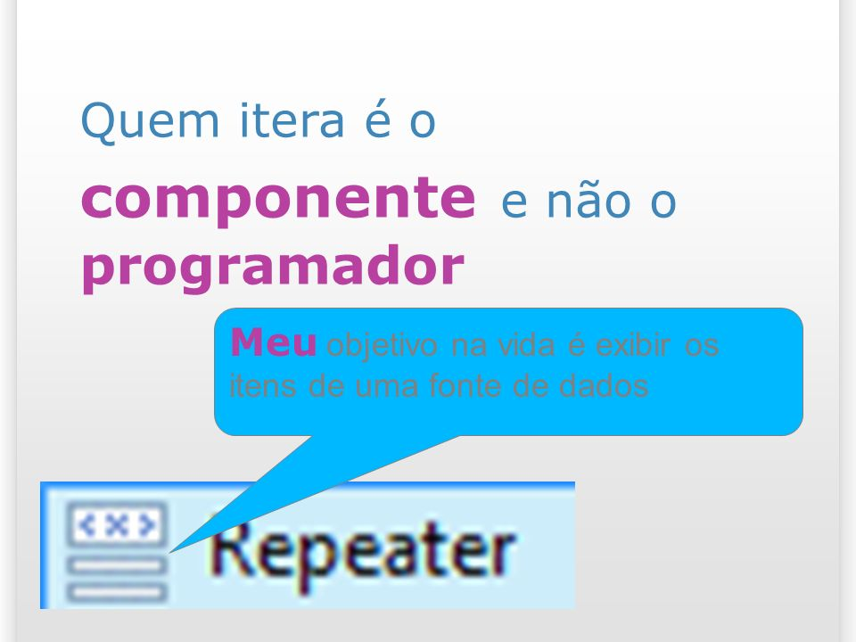 Quem itera é o componente e não o programador Meu objetivo na vida é exibir os itens de uma fonte de dados