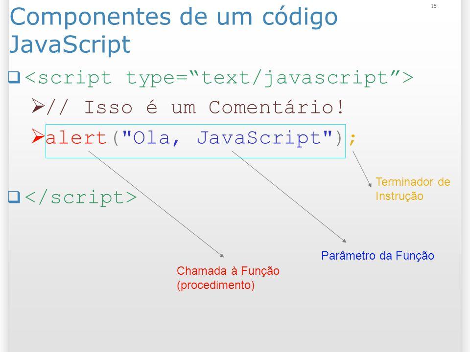 15 Componentes de um código JavaScript // Isso é um Comentário! alert(
