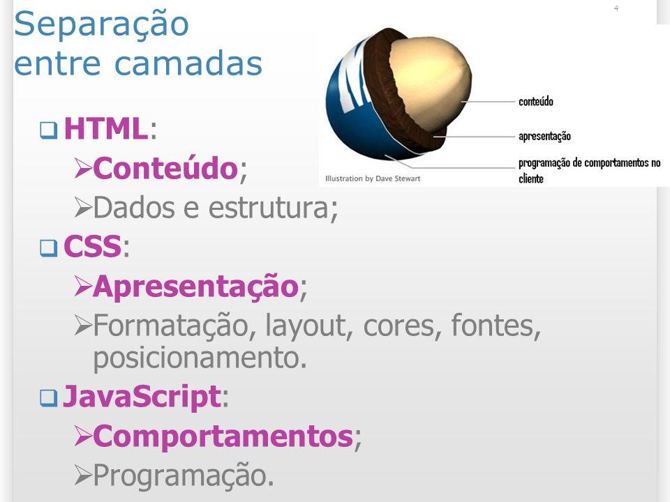 4 Separação entre camadas HTML: Conteúdo; Dados e estrutura; CSS: Apresentação; Formatação, layout, cores, fontes, posicionamento. JavaScript: Comport