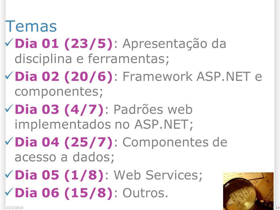 Temas Dia 01 (23/5): Apresentação da disciplina e ferramentas; Dia 02 (20/6): Framework ASP.NET e componentes; Dia 03 (4/7): Padrões web implementados no ASP.NET; Dia 04 (25/7): Componentes de acesso a dados; Dia 05 (1/8): Web Services; Dia 06 (15/8): Outros.