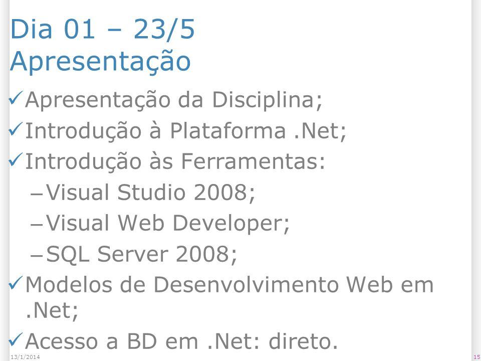 Dia 01 – 23/5 Apresentação Apresentação da Disciplina; Introdução à Plataforma.Net; Introdução às Ferramentas: – Visual Studio 2008; – Visual Web Developer; – SQL Server 2008; Modelos de Desenvolvimento Web em.Net; Acesso a BD em.Net: direto.