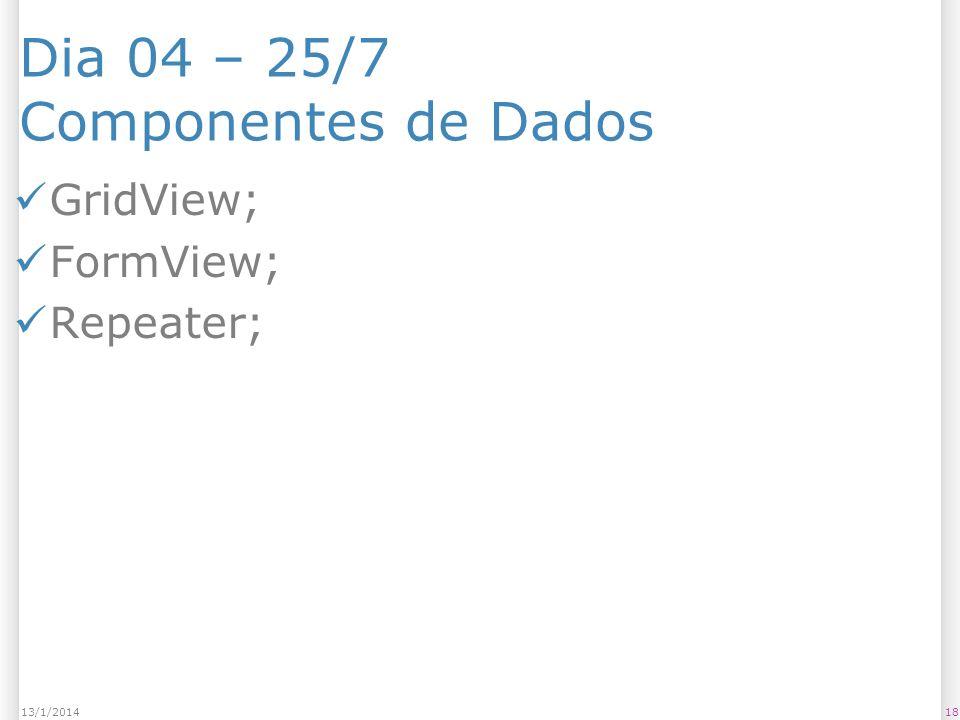Dia 04 – 25/7 Componentes de Dados GridView; FormView; Repeater; 1813/1/2014