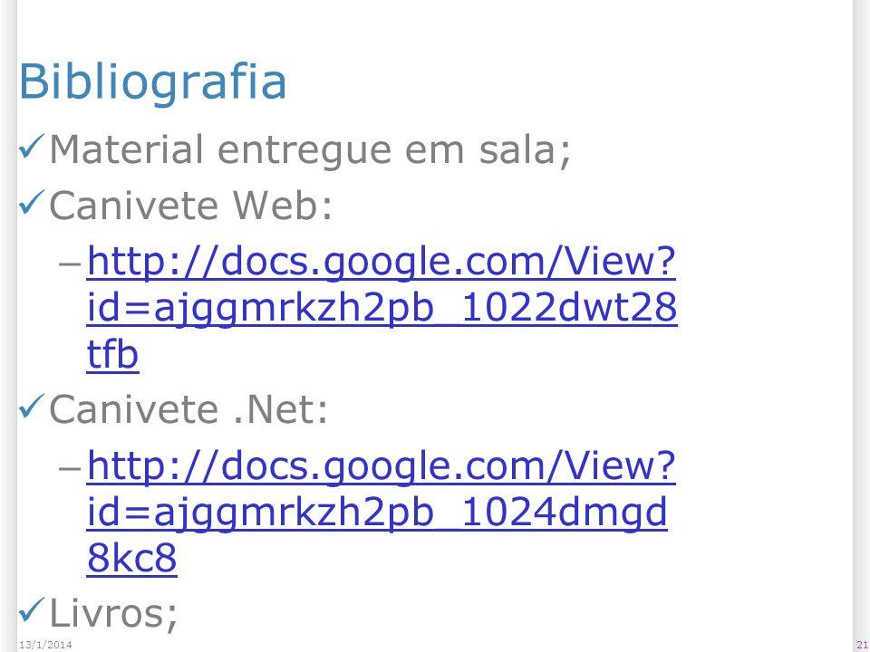 2113/1/2014 Bibliografia Material entregue em sala; Canivete Web: – http://docs.google.com/View? id=ajggmrkzh2pb_1022dwt28 tfb http://docs.google.com/