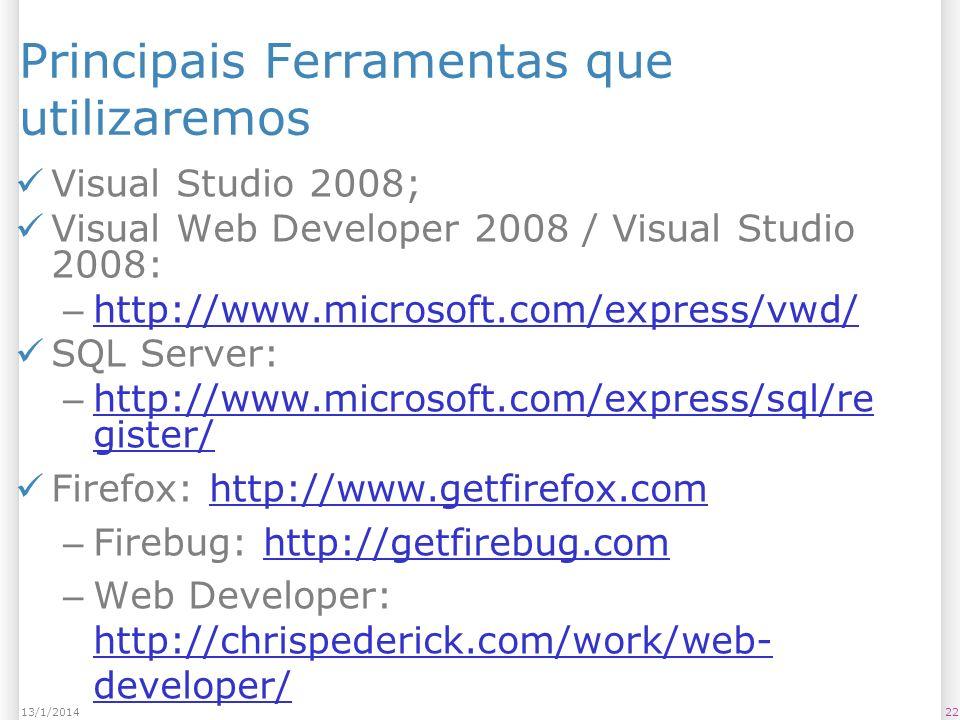 2213/1/2014 Principais Ferramentas que utilizaremos Visual Studio 2008; Visual Web Developer 2008 / Visual Studio 2008: – http://www.microsoft.com/express/vwd/ http://www.microsoft.com/express/vwd/ SQL Server: – http://www.microsoft.com/express/sql/re gister/ http://www.microsoft.com/express/sql/re gister/ Firefox: http://www.getfirefox.comhttp://www.getfirefox.com – Firebug: http://getfirebug.comhttp://getfirebug.com – Web Developer: http://chrispederick.com/work/web- developer/ http://chrispederick.com/work/web- developer/