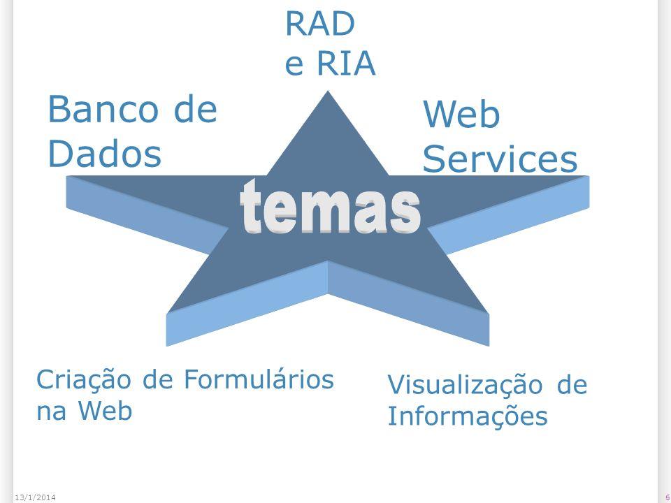6 RAD e RIA Banco de Dados Web Services Criação de Formulários na Web Visualização de Informações