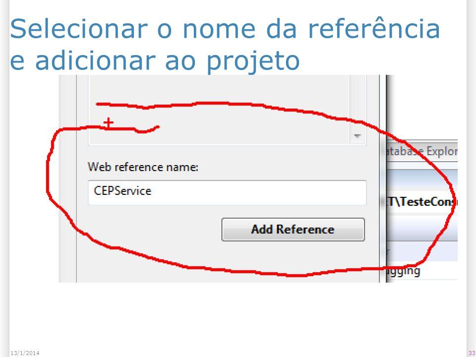 Selecionar o nome da referência e adicionar ao projeto 3313/1/2014