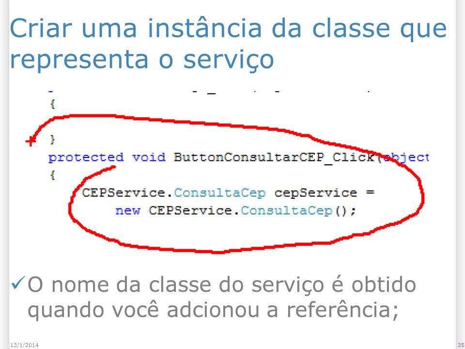 Criar uma instância da classe que representa o serviço 3513/1/2014 O nome da classe do serviço é obtido quando você adcionou a referência;