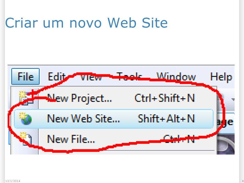 Criar um novo Web Site 413/1/2014