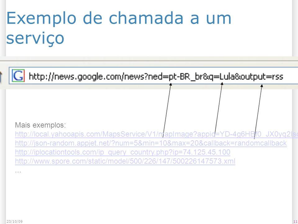 Exemplo de chamada a um serviço 1123/10/09 Mais exemplos: http://local.yahooapis.com/MapsService/V1/mapImage?appid=YD-4g6HBf0_JX0yq2IsdnV1Ne9JTpKxQ3Mi