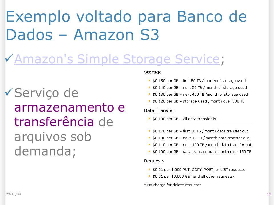 Exemplo voltado para Banco de Dados – Amazon S3 Serviço de armazenamento e transferência de arquivos sob demanda; 1323/10/09 Amazon's Simple Storage S