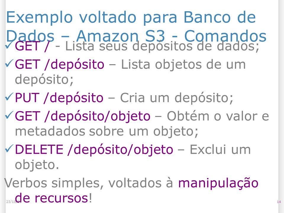 Exemplo voltado para Banco de Dados – Amazon S3 - Comandos GET / - Lista seus depósitos de dados; GET /depósito – Lista objetos de um depósito; PUT /d