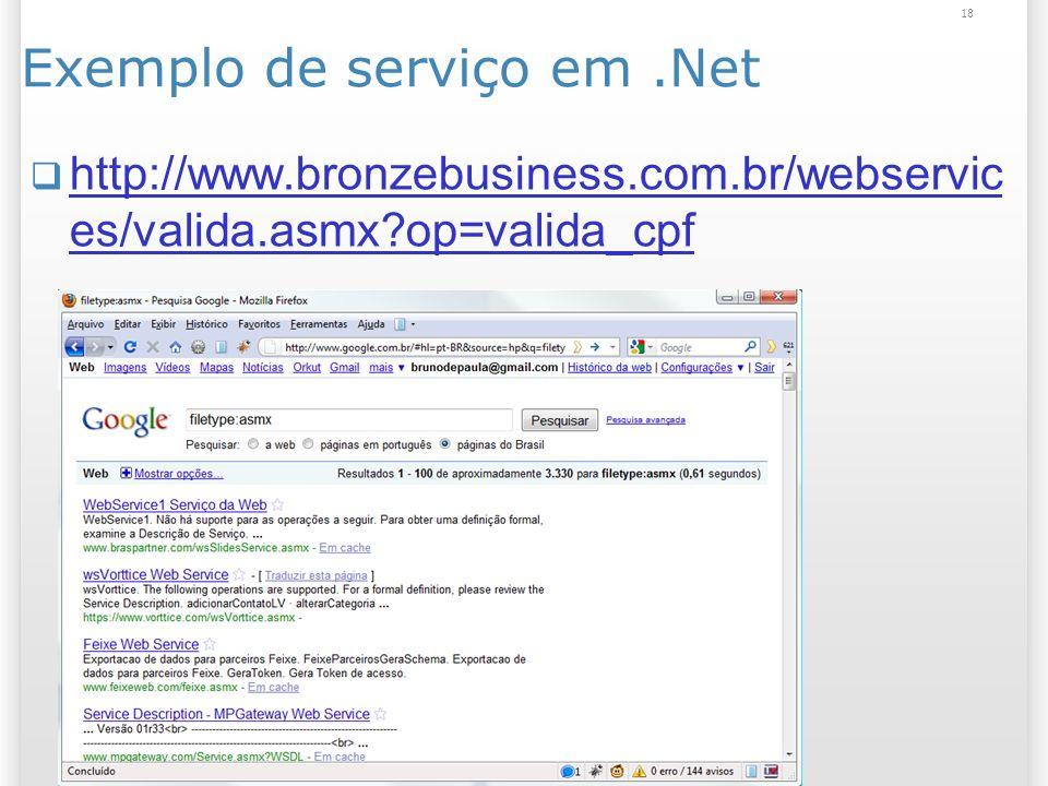 Exemplo de serviço em.Net http://www.bronzebusiness.com.br/webservic es/valida.asmx op=valida_cpf http://www.bronzebusiness.com.br/webservic es/valida.asmx op=valida_cpf 18
