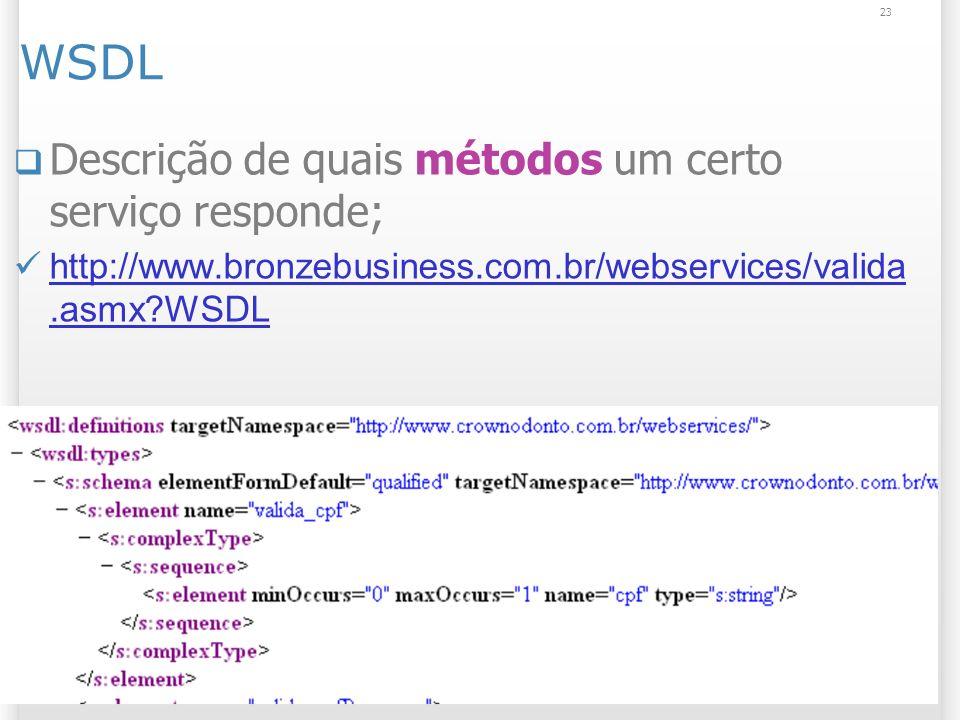 WSDL Descrição de quais métodos um certo serviço responde; http://www.bronzebusiness.com.br/webservices/valida.asmx WSDL http://www.bronzebusiness.com.br/webservices/valida.asmx WSDL 23