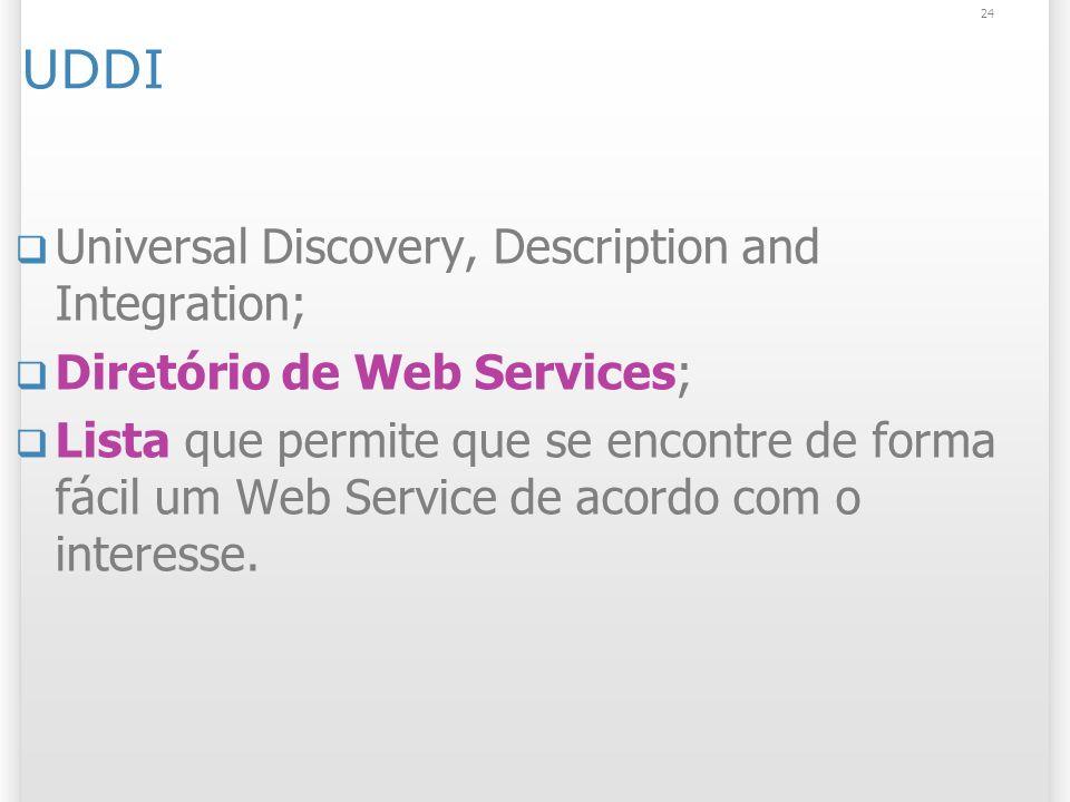 UDDI Universal Discovery, Description and Integration; Diretório de Web Services; Lista que permite que se encontre de forma fácil um Web Service de acordo com o interesse.