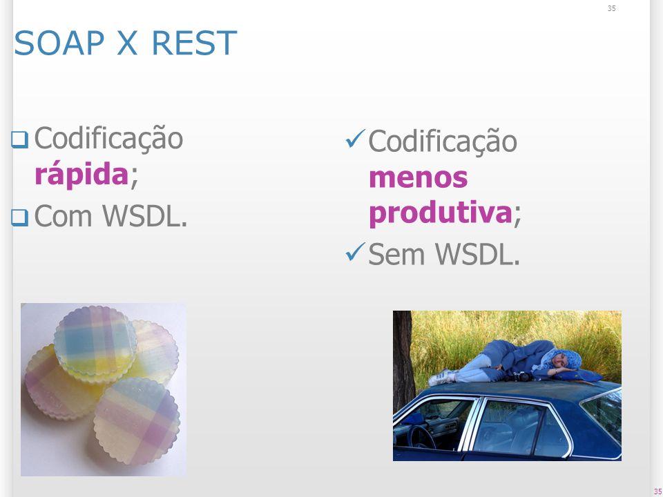 35 SOAP X REST Codificação rápida; Com WSDL. 35 Codificação menos produtiva; Sem WSDL.