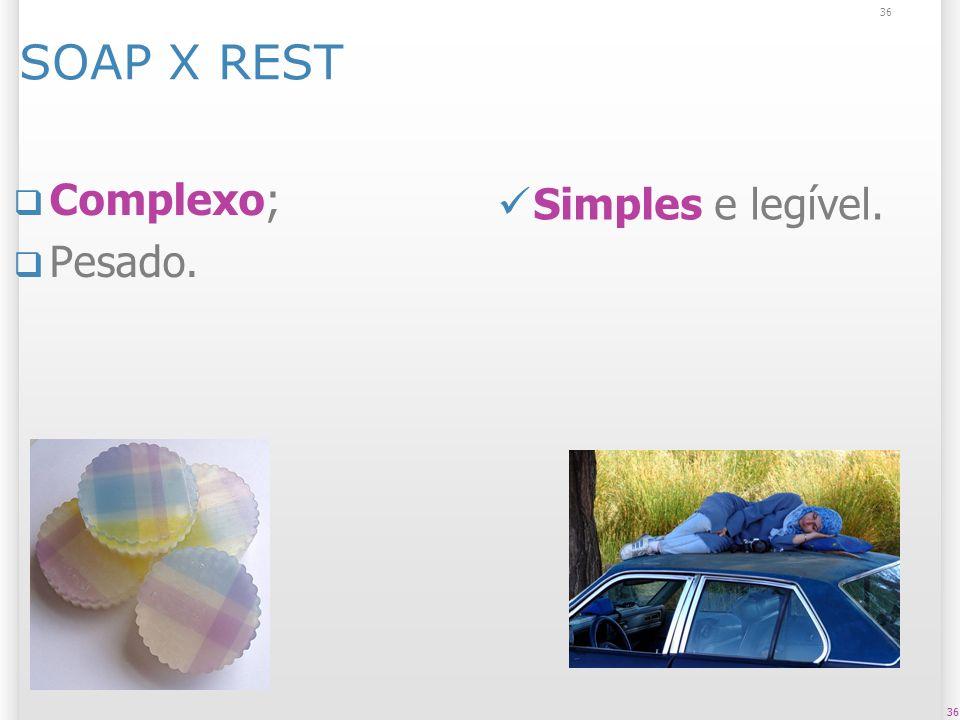 36 SOAP X REST Complexo; Pesado. 36 Simples e legível.