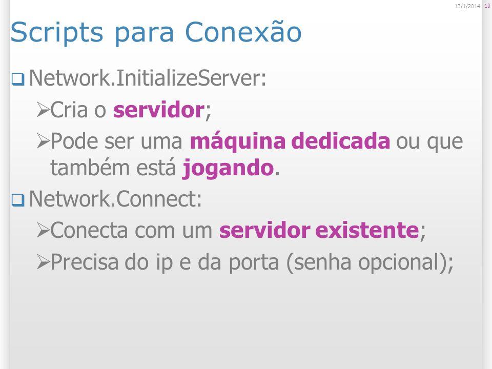 Scripts para Conexão Network.InitializeServer: Cria o servidor; Pode ser uma máquina dedicada ou que também está jogando. Network.Connect: Conecta com