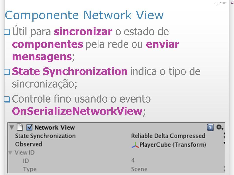 Componente Network View Útil para sincronizar o estado de componentes pela rede ou enviar mensagens; State Synchronization indica o tipo de sincroniza