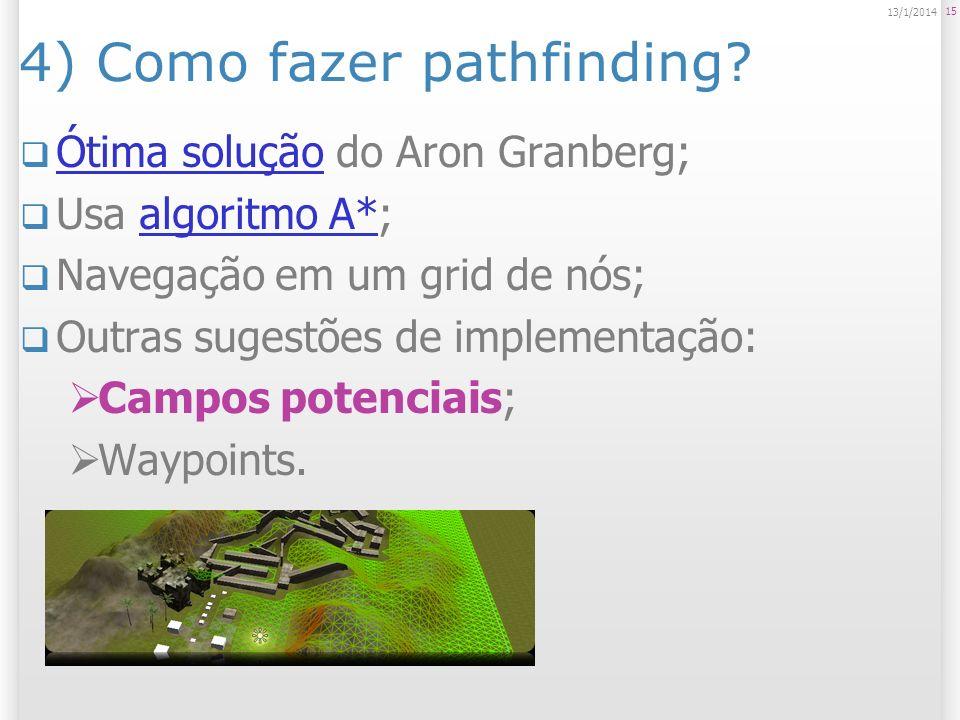 4) Como fazer pathfinding? Ótima solução do Aron Granberg; Ótima solução Usa algoritmo A*;algoritmo A* Navegação em um grid de nós; Outras sugestões d