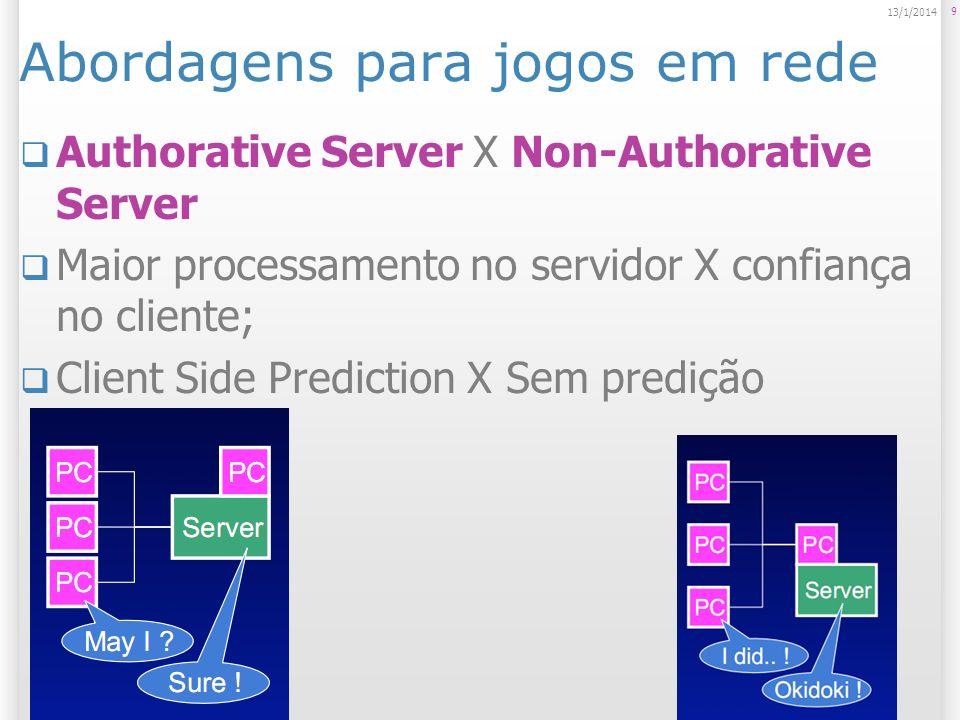 Abordagens para jogos em rede Authorative Server X Non-Authorative Server Maior processamento no servidor X confiança no cliente; Client Side Predicti