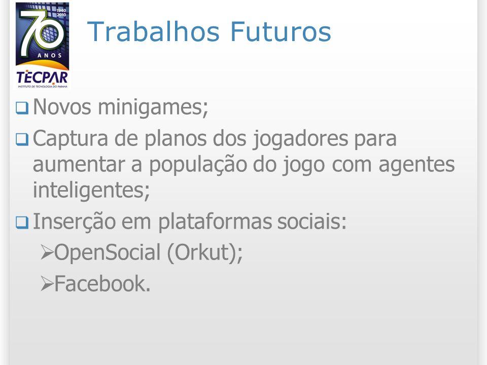 Trabalhos Futuros Novos minigames; Captura de planos dos jogadores para aumentar a população do jogo com agentes inteligentes; Inserção em plataformas sociais: OpenSocial (Orkut); Facebook.
