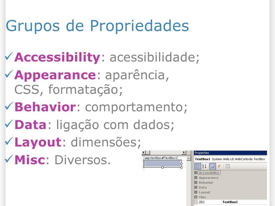 Grupos de Propriedades Accessibility: acessibilidade; Appearance: aparência, CSS, formatação; Behavior: comportamento; Data: ligação com dados; Layout: dimensões; Misc: Diversos.