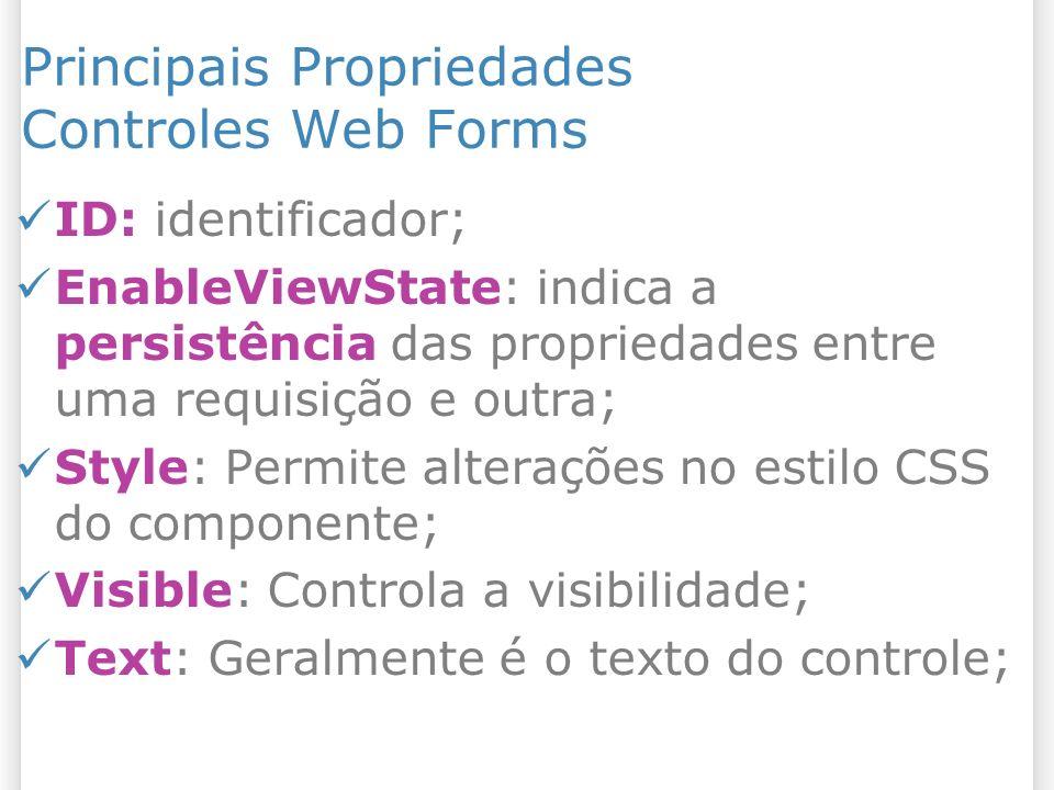 Principais Propriedades Controles Web Forms ID: identificador; EnableViewState: indica a persistência das propriedades entre uma requisição e outra; Style: Permite alterações no estilo CSS do componente; Visible: Controla a visibilidade; Text: Geralmente é o texto do controle;