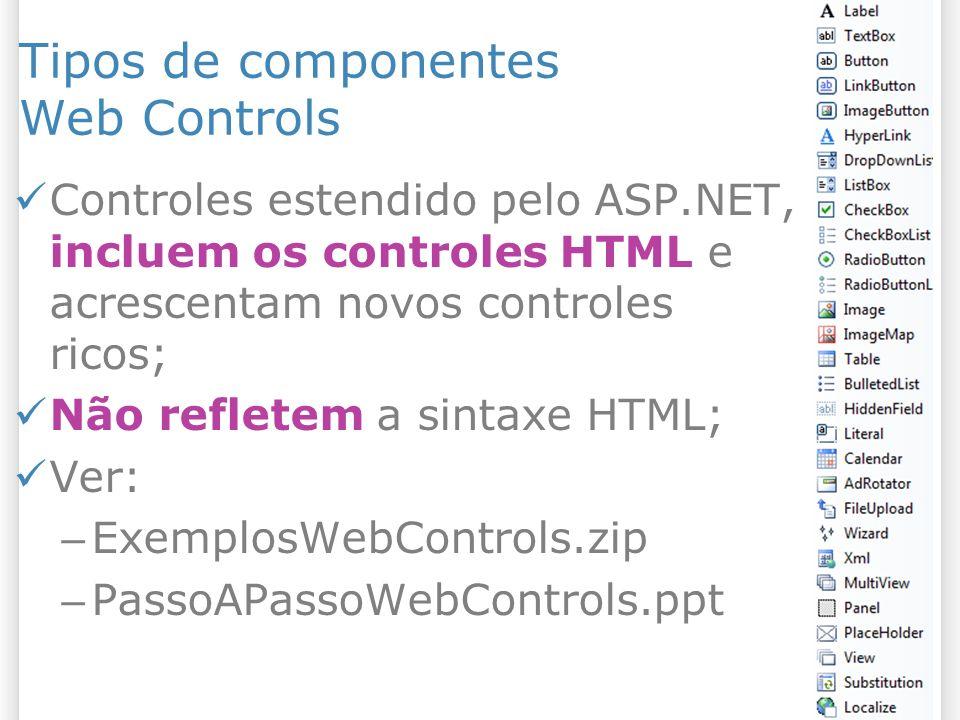 Tipos de componentes Web Controls Controles estendido pelo ASP.NET, incluem os controles HTML e acrescentam novos controles ricos; Não refletem a sint