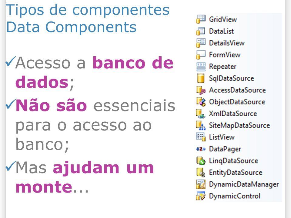 Tipos de componentes Data Components Acesso a banco de dados; Não são essenciais para o acesso ao banco; Mas ajudam um monte...